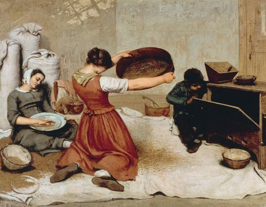 Wheat sifters (Les cribleuses de ble), 1853, by Gustave Courbet (1819-1877), oil on canvas, 131x167 cm. : Stock Photo