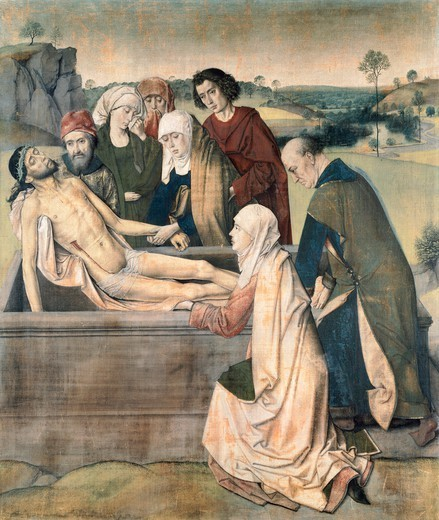 The entombment, ca 1450-1460, by Dieric Bouts the Elder (ca 1415-1475), tempera on canvas, 87.5x73.6 cm. : Stock Photo