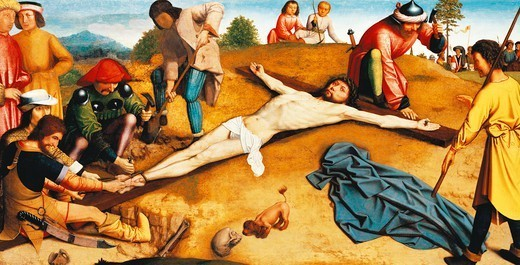 Stock Photo: 1788-46386 Christ on the cross, ca 1481, by Gerard David (ca 1460-1523), oil on panel, 48x94 cm.