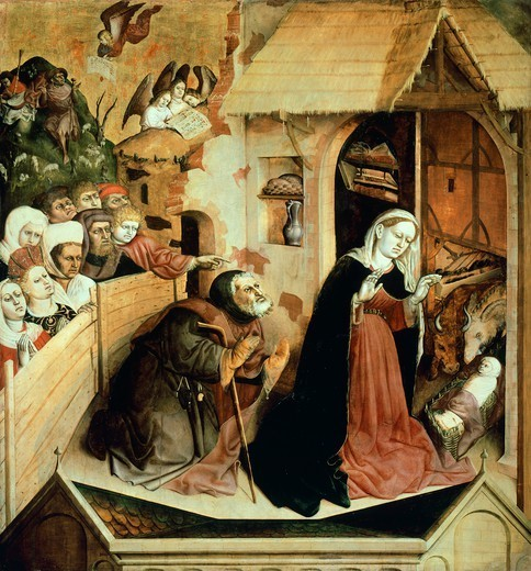 Stock Photo: 1788-46388 The Nativity, scene from Life of the Virgin, Wurzach Altarpiece, 1437, by Hans Multscher (ca 1400-1467), panel, 148x140 cm.