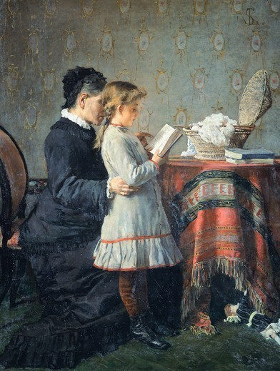 Grandmother's lessons, 1880-1881, by Silvestro Lega (1826-1895), oil on canvas, 116x90 cm. : Stock Photo