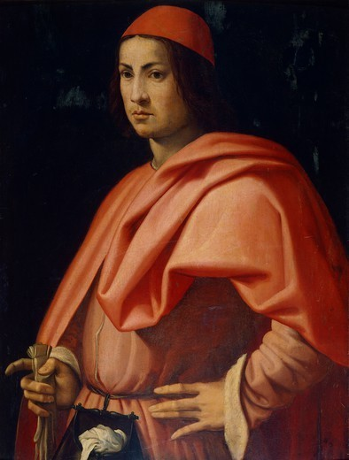 Stock Photo: 1788-46393 Portrait of a Florentine gentleman, by Jacopo da Pontormo (1494-1557).