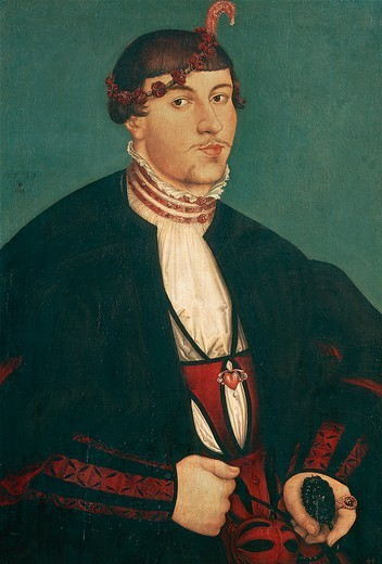 Portrait of a young nobleman, 1539, by Lucas Cranach the Elder (1472-1553). : Stock Photo