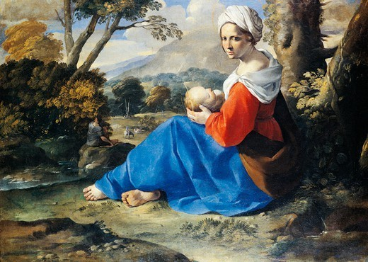 Rest on the flight into Egypt, by Simone Cantarini (1612-1648), oil on canvas, 50x66.5 cm. : Stock Photo