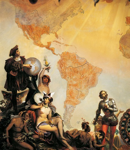 Stock Photo: 1788-46421 Christopher Columbus and the discovery of America, detail from Allegory of the dominions of Charles V, by Cesare Dell'Acqua (1821-1904).
