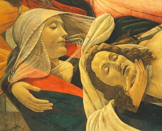 Lamentation over the Dead Christ, 1495, by Sandro Botticelli (1445-1510), tempera on wood, 107x71 cm. Detail. : Stock Photo
