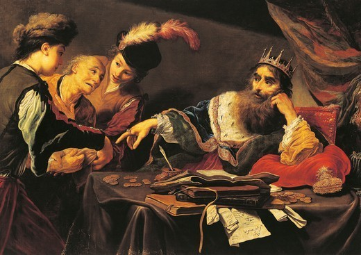 Stock Photo: 1788-46454 Croesus receiving a tribute from a Lydian, 1629, by Claude Vignon (1593-1670), oil on canvas, 105x149 cm.