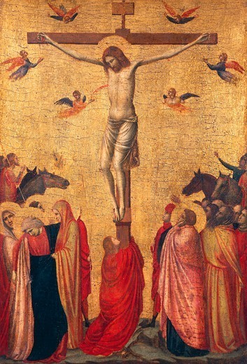 Crucifixion, ca 1325, perhaps by Giotto (1267-1337), tempera on panel, 39x26 cm. : Stock Photo