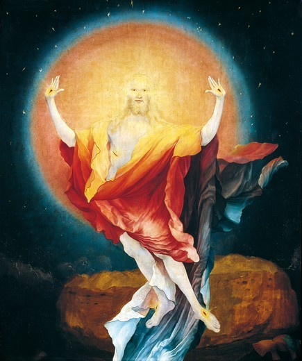 Stock Photo: 1788-46463 The Resurrection of Christ, detail from the Isenheim Altarpiece, ca 1515, by Mathias Grunewald (1475-1528), oil on panel.
