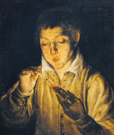 Boy lighting a candle (Boy blowing on an ember), 1575, by El Greco (1541-1614). : Stock Photo