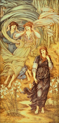The Bride of Lebanon (Sponsa de Libano), 1891, by Edward Burne-Jones (1833-1898), watercolor and tempera on paper, 332.5 x155.5 cm. : Stock Photo