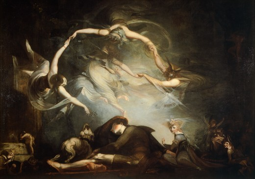 Stock Photo: 1788-46498 The pastor's dream, 1793, by Johann Heinrich Fuseli (1741-1825), oil on canvas, 154x215 cm.