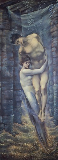 Stock Photo: 1788-46499 The depths of the sea, 1887, by Edward Burne-Jones (1833-1898), watercolor.