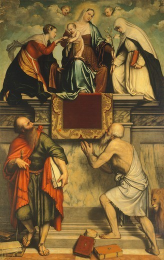 Enthroned Madonna with Child, St Catherine, St Paul and St Jerome, 1543, by Moretto da Brescia (1498-1554). Church of San Clemente, Brescia. : Stock Photo