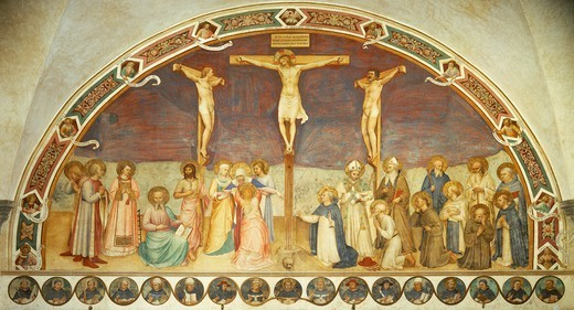 Stock Photo: 1788-46521 Crucifixion with Saints, by Giovanni da Fiesole, known as Fra Angelico (ca 1400-1455), fresco. Chapter house of the Convent of San Marco, Florence.