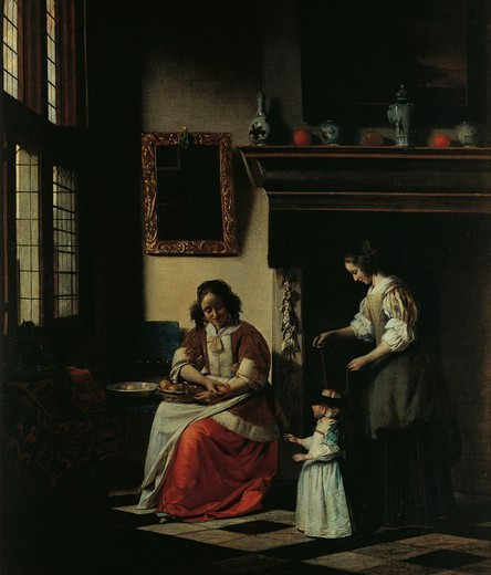 The first steps, 1670, by Pieter de Hooch (1629-1684). : Stock Photo