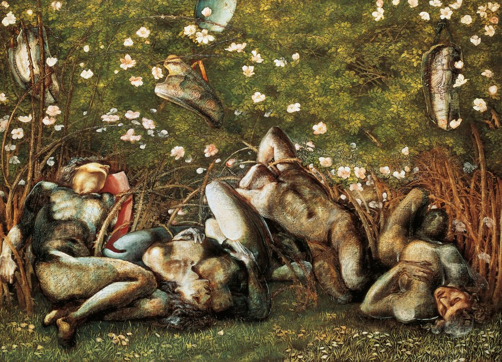Stock Photo: 1788-46565 The sleeping knights, 1870, by Edward Burne-Jones (1833-1898).