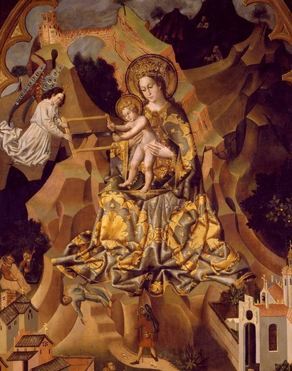Triptych of the Virgin of Montserrat, 16th century. Detail. : Stock Photo