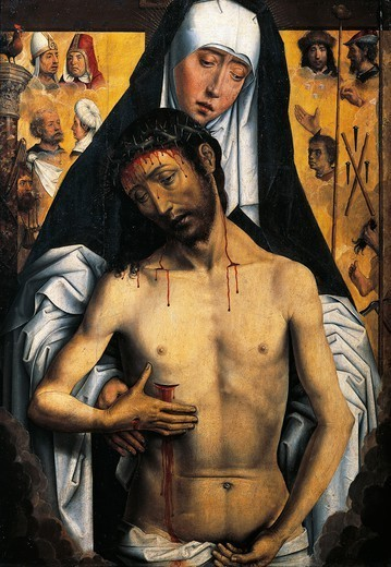 Stock Photo: 1788-46601 The Virgin showing the Man of Sorrows, by Hans Memling (ca 1430-1494). Royal Chapel of the cathedral, Granada, Spain.