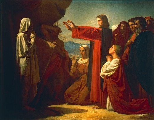 The Raising of Lazarus, 1857, by Leon Bonnat (1833-1922), oil on canvas, 112x145 cm. : Stock Photo