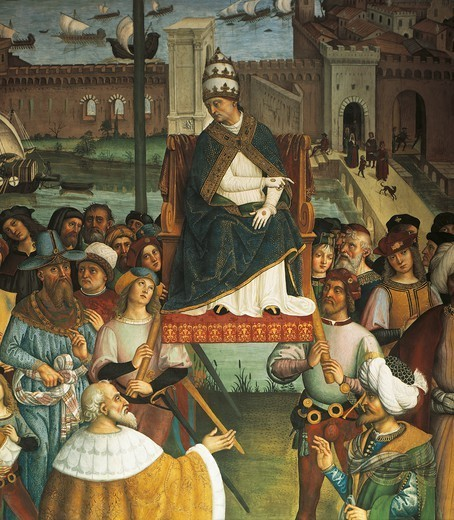 Pius II, detail from Pope Pius II Piccolomini arrives in Ancona to begin the Crusade, 1502-1507, by Bernardino di Betto, known as Pinturicchio (1454-1513), fresco. Piccolomini Library, Duomo, Siena. : Stock Photo