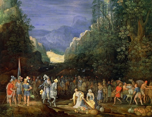 Stock Photo: 1788-46640 Painting of a mountain landscape with the return of Jephthah, by Pieter Schoubroeck (1570-ca 1607).