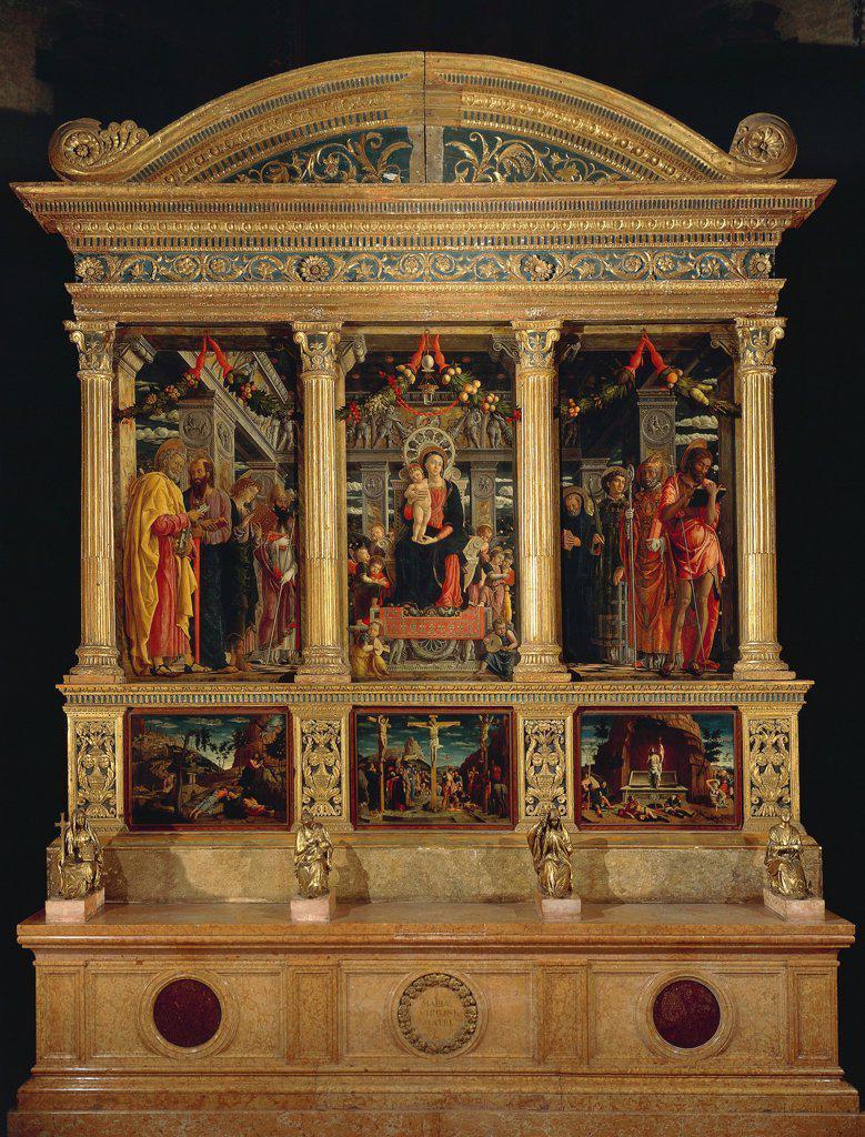 San Zeno Altarpiece, ca 1456-1460, by Andrea Mantegna (1431-1506), panel, 480x450 cm. Church of San Zeno, Verona. : Stock Photo