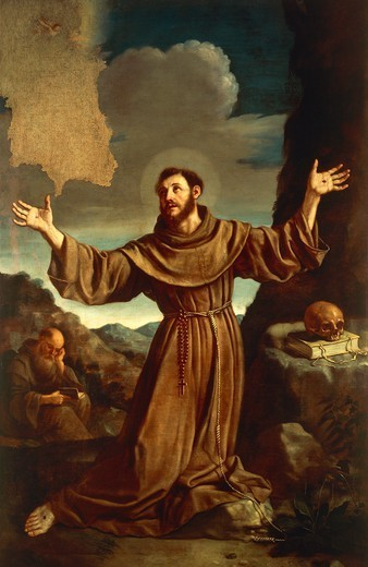 St Francis of Assisi Receiving the Stigmata, by Giovanni Francesco Barbieri, known as Guercino (1591-1666). : Stock Photo