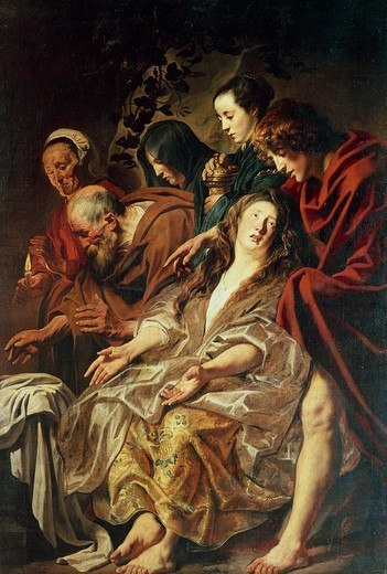 Stock Photo: 1788-46670 The disciples at the tomb, 1625, by Jacob Jordaens (1593-1678), 215x146 cm.