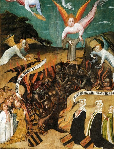 Donors saving souls from hell, ca 1425, by the Master of the Palanter Altarpiece, tempera on panel, 81x45.5 cm. : Stock Photo