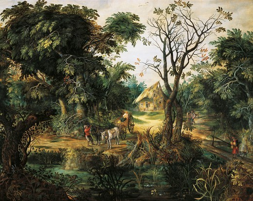 Stock Photo: 1788-46678 Landscape with peasants, by Kerinex Alexander (1600-1652).