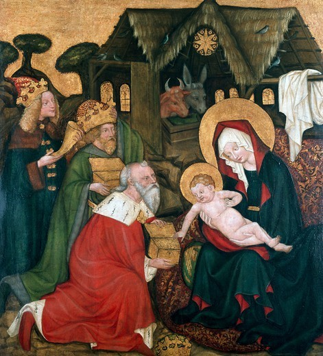 Stock Photo: 1788-46680 Adoration of the Magi originating from the St James Altarpiece in Brno, ca 1440, Bohemian painting.