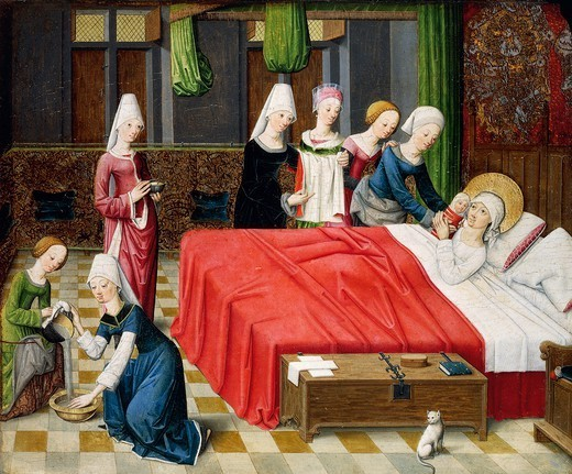 Stock Photo: 1788-46684 Birth of Mary, scene from Stories of the life of Mary, 1485, by the Master of the Stories of Mary in Aachen (active 15th century), oil on panel.