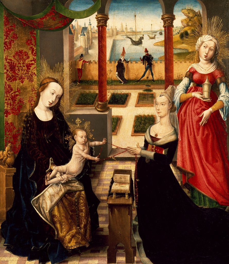 Virgin and Mary Magdalene and a donor, ca 1475, by the Master of the View of St Gudula (active ca 1470-1490), oil on panel. : Stock Photo