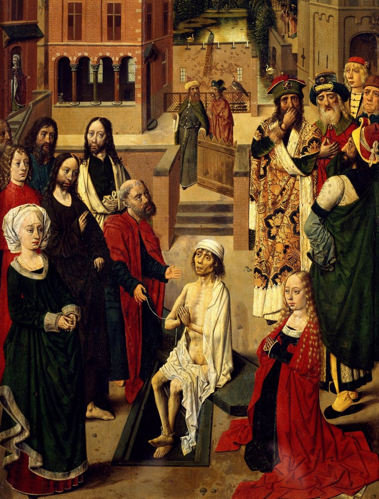 Stock Photo: 1788-46704 The raising of Lazarus, ca 1480, by the Master of Tiburtine Sibyl (active ca 1470-1490), oil on panel, 79x37 cm. Detail.