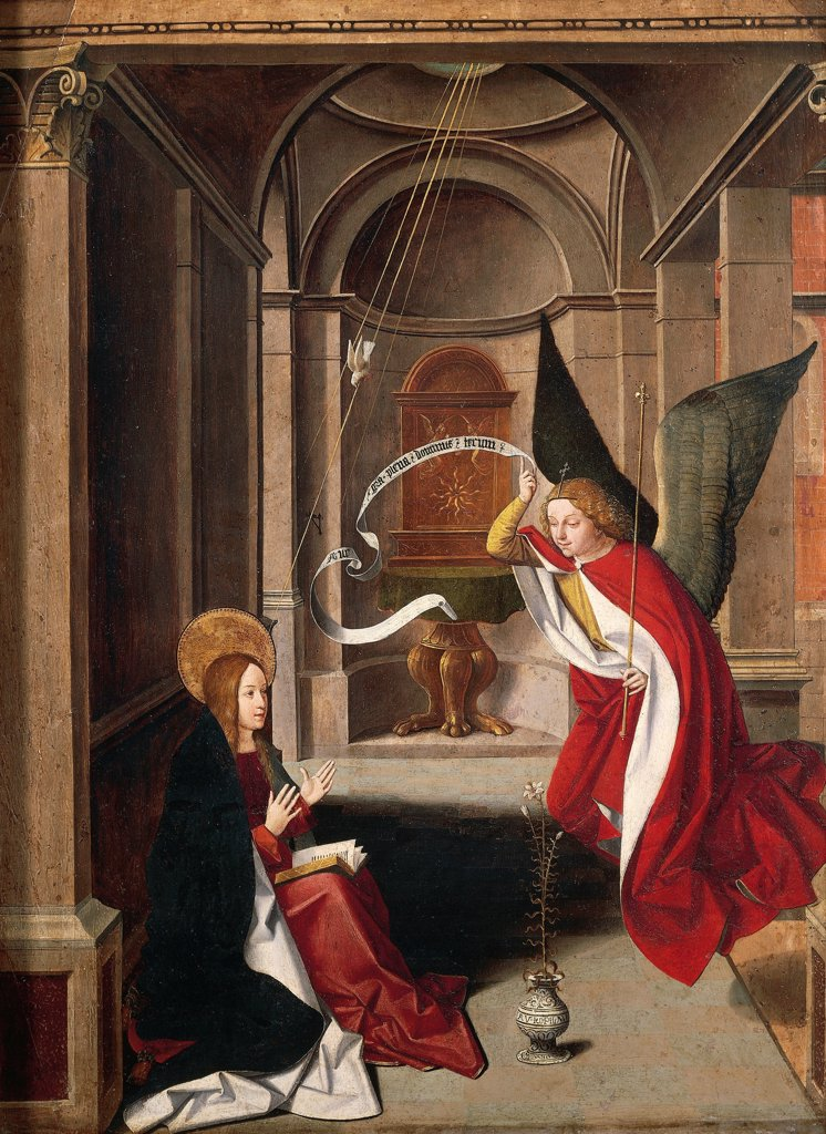 The Annunciation, by Josse Lieferinxe (died before 1508). Detail. : Stock Photo