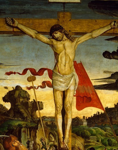 Christ on the Cross, detail from the Crucifixion, by Francesco de' Bianchi Ferrari (ca 1460-1510), panel, 267x220 cm. : Stock Photo