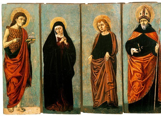 Stock Photo: 1788-46720 Wooden panel showing St John the Evangelist, St John the Baptist, the Virgin and St Augustine, by Bartolomeo degli Erri (active 1460-1476).