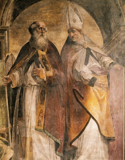 Stock Photo: 1788-46723 Anthony and Cirillo, detail from the Fathers and Doctors of the Church, 1538-1539, by Michelangelo Anselmi (ca 1492-1556), fresco. Collegiate church of St Bartholomew, Busseto, Italy.
