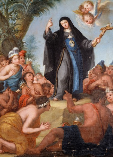 Stock Photo: 1788-46732 Blessed Maria de Agreda appearing to American Indians, 17th century, Spanish painting.