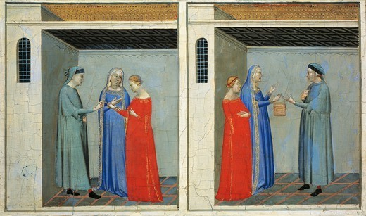 Predella with Stories of the Sacra Cintola: marriage of Michael receiving a dowry of the Sacra Cintola, by Bernardo Daddi (1290-1348). : Stock Photo