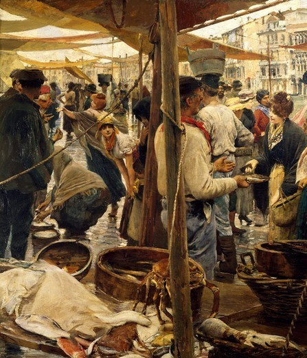 Stock Photo: 1788-46799 The old fish market in Venice, 1887, by Ettore Tito (1859-1941), oil on canvas, 131x200 cm. Detail.