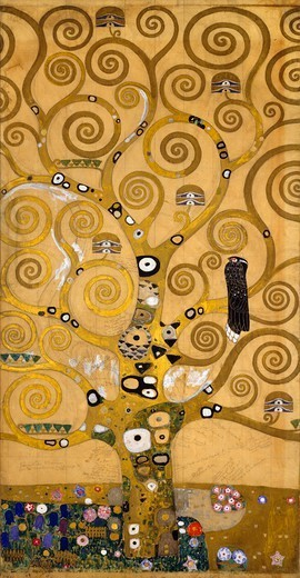 The Tree of Life, 1905-1909, by Gustav Klimt (1862-1918), cartoon for the Stoclet Frieze. Detail of the left side. : Stock Photo