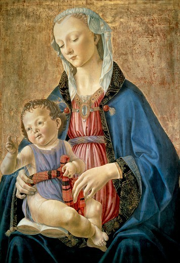 Stock Photo: 1788-46820 Madonna and Child, 1470-1475, by Domenico Ghirlandaio (1449-1494), tempera on wood transferred on cardboard, 70.8 x 48 cm, 9.