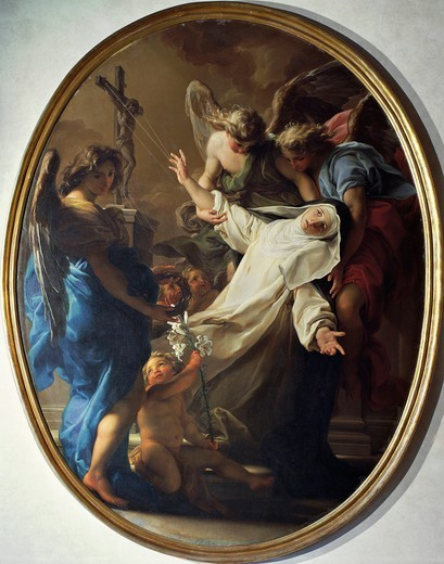 Ecstasy of Saint Catherine of Siena, 1743, by Pompeo Batoni (1708-1787). : Stock Photo