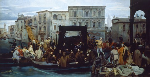 Titian's funerals, 1855, by Enrico Gamba (1831-1883). : Stock Photo