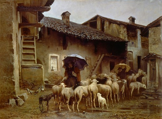 The return to the stable, by Carlo Pittara (1836-1890). : Stock Photo