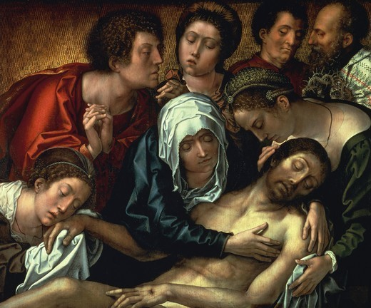 Lamentation over dead Christ, central panel of the Haneton Triptych, by Bernaert van Orley (ca 1492-1541), oil on canvas, 87x109 cm. : Stock Photo