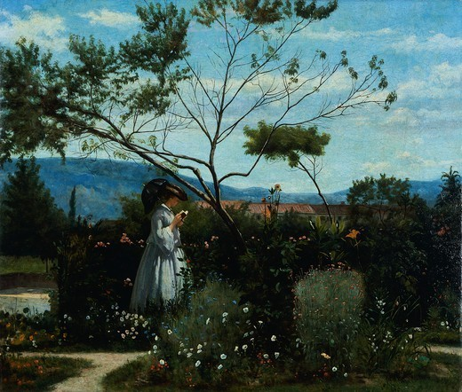 Among the flowers in the garden, by Silvestro Lega (1826-1895). : Stock Photo