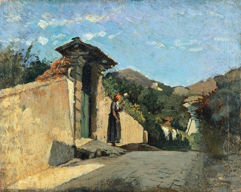 Study of landscape, ca 1861, by Cristiano Banti (1824-1904), oil on canvas on board, 18x20 cm. : Stock Photo